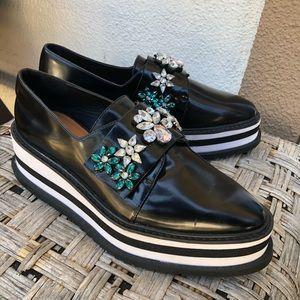 Zara Platform Studded Loafers